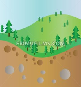 Green trees mountain section landscape with brown ground and stones. Digital background vector illustration. - frimufilms.com
