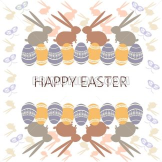 Happy Easter Card. Easter eggs and bunnies. Plain Colored Easter Eggs. Digital background vector illustration. - frimufilms.com