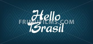 Hello Brasil card over dark blue background with triangles, in outlines. Digital vector image - frimufilms.com