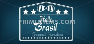 Hello Brasil card with stars and sunglasses over dark blue background, in outlines. Digital vector image - frimufilms.com