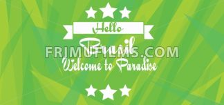 Hello Brasil paradise card with stars over green background with triangles, in outlines. Digital vector image - frimufilms.com