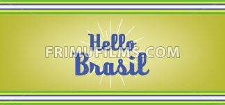 Hello brasil card with colored lines design over dark yellow background, in outlines. Digital vector image - frimufilms.com
