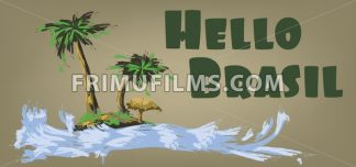 Hello brasil card with palm trees and water design over brown background, in outlines. Digital vector image - frimufilms.com