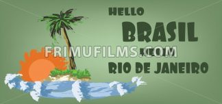 Hello brasil card with palm trees, sun and water design over green background, in outlines. Digital vector image - frimufilms.com