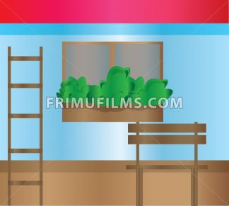 House exterior with flowers decorated at windows, a staircase and a bench. Digital background vector illustration. - frimufilms.com