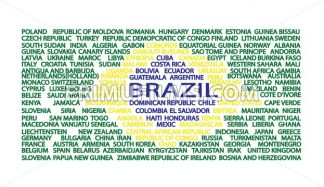 List of country names in the order of flag of Brazil. Digital vector image - frimufilms.com
