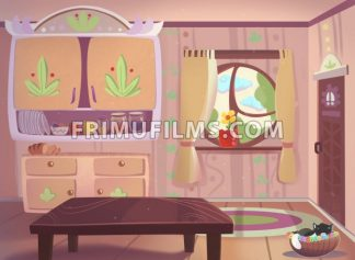 Living room drawn in cartoon style raster illustration. - frimufilms
