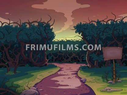 Lonely road between the bushes at sunset. Fairy tale cartoon stylish raster illustration. - frimufilms