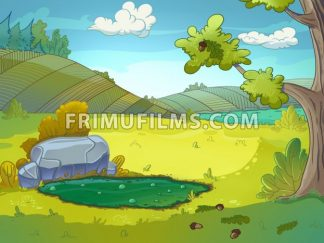 Mud puddle raster illustration drawn in cartoon style. - frimufilms