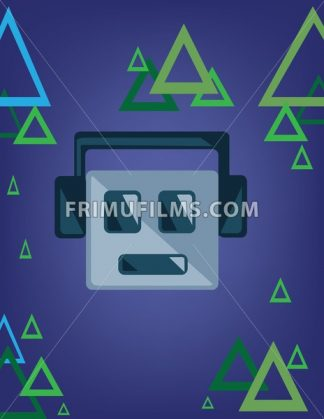Music emoticon with smile and headphones over a blue background with green and blue triangles. Digital vector image. - frimufilms.com