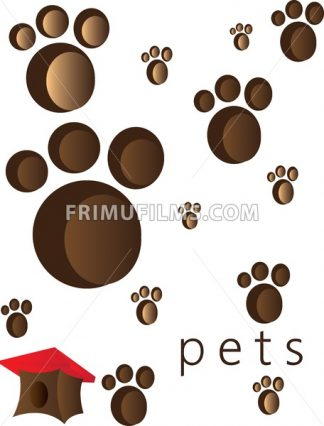 Pets and animals foot steps and traces with a small red roof cage. Digital vector image. - frimufilms.com