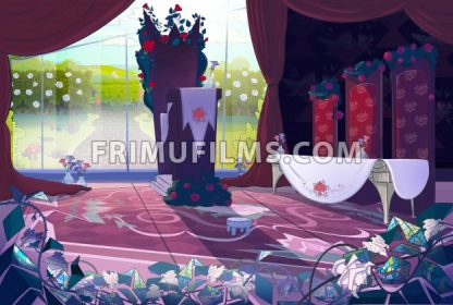 Queen's palace interior, court, jury. Fairy tale cartoon stylish raster illustration. - frimufilms