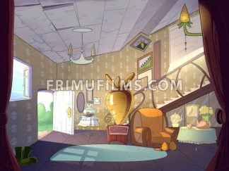 Rabbit house, living room interior. Fairy tale cartoon stylish raster illustration. - frimufilms