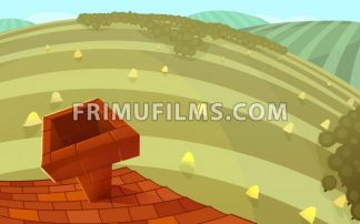 Red tiles roof with a chimney and round hills in the background. Cartoon stylish background raster illustration. - frimufilms