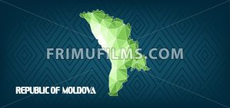 Republic of Moldova country map design with green and white triangles over dark blue background with squares. Digital vector image - frimufilms.com