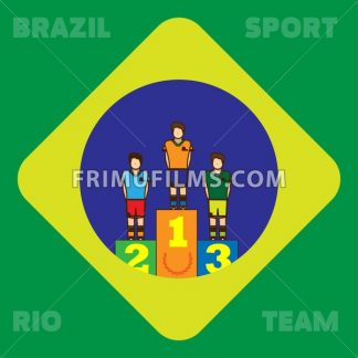 Rio, Brazil, Sport and Team card with first, second and third places champions. Digital vector image. - frimufilms.com