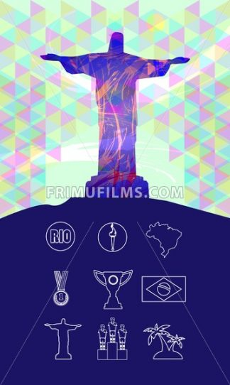 Rio, gold medal, burning torch and brazil flag icons set in outlines with statue over colored background. Digital vector image. - frimufilms.com