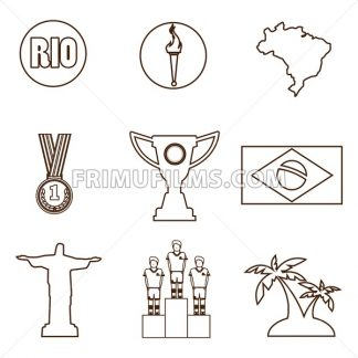 Rio, gold medal, burning torch and brazil flag icons set in outlines. Digital vector image. - frimufilms.com