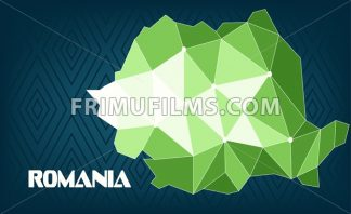 Romania country map design with green and white triangles over dark blue background with squares. Digital vector image - frimufilms.com
