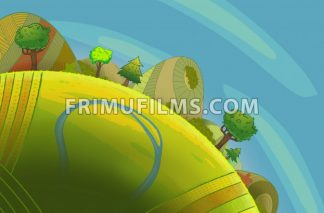 Round green hills with trees and a river. Cartoon stylish background raster illustration. - frimufilms