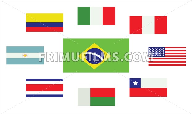 Set of country flags, Brasil, Argentina, Italy, Peru, USA, Chile, Costa Rica, Colombia and Madagascar. Digital vector image - frimufilms.com