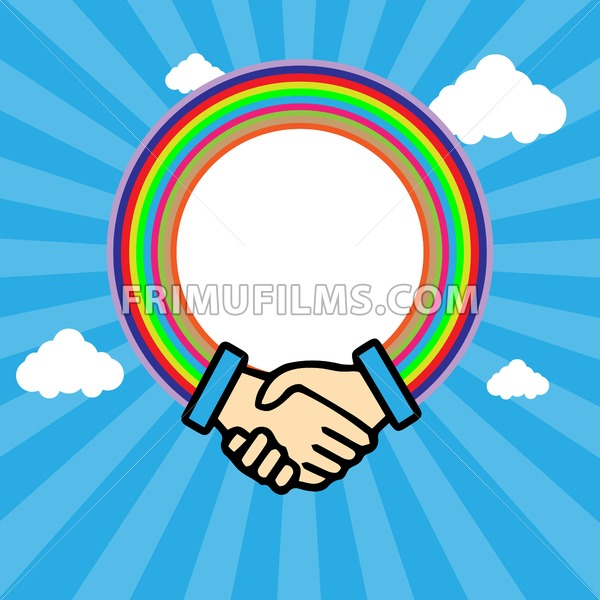 Shaking hands in outline with rainbow circle over a blue sky background in lines with white clouds. Digital vector background - frimufilms.com