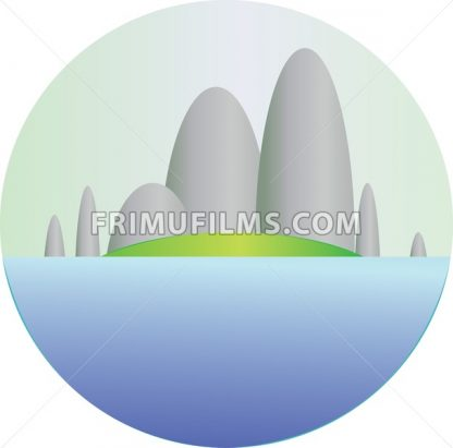 Silver hills with green fields and sea section in a round frame. Digital background vector illustration. - frimufilms.com