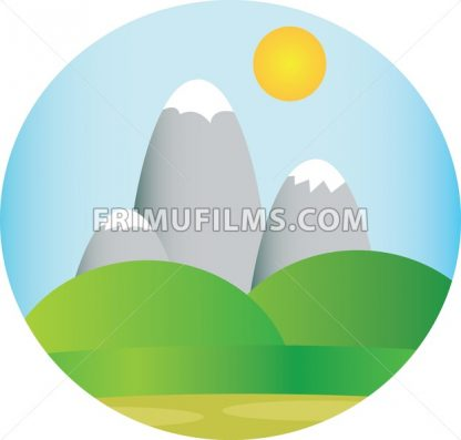 Silver mountains with snow with green fields and sun in the sky in a round frame. Digital background vector illustration. - frimufilms.com