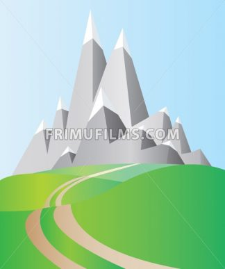 Silver mountains with white snow on top and blue sky and green valleys with a road. Digital background vector illustration. - frimufilms.com
