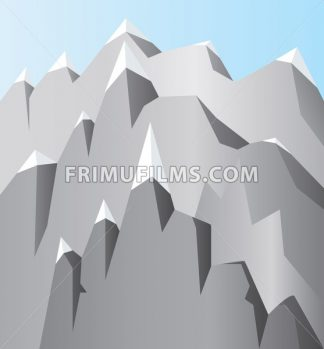 Silver mountains with white snow on top and blue sky. Digital background vector illustration. - frimufilms.com