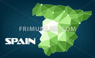 Spain country map design with green and white triangles over dark blue background with squares. Digital vector image - frimufilms.com