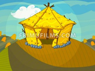 Straw bale house on the hill raster illustration drawn in cartoon style. - frimufilms