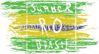 Summer Brasil, rio hand drawn card with splash painted background. Digital vector image - frimufilms.com