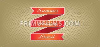 Summer, holiday, Brasil card with red ribbon over brown background with rectangles, in outlines. Digital vector image - frimufilms.com