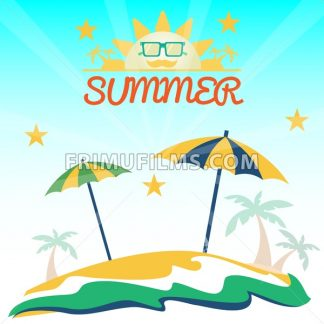 Summer holiday card with beach, sun with glasses, palms and umbrellas. Digital vector image - frimufilms.com