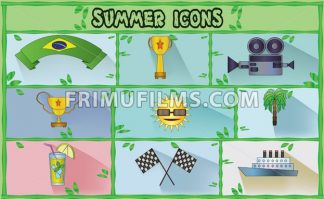 Summer icons set with brasil flag ribbon, rally flags and lemonade, flat style. Digital vector image - frimufilms.com