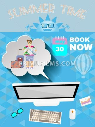 Summer time blue infographic, with book now text, computer and travel accessories, Digital vector image - frimufilms.com