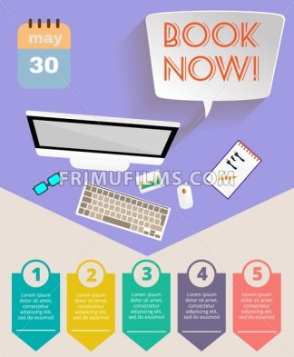 Summer time purple infographic, with book now text, computer and travel accessories, Digital vector image - frimufilms.com