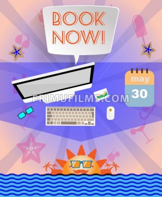 Summer time purple infographic, with book now text, icons and travel accessories. Digital vector image - frimufilms.com