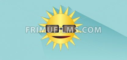 Sun with sunglasses design over white blue background, flat style. Digital image vector - frimufilms.com