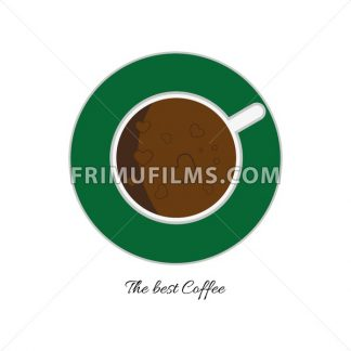 Top view of a white cup of hot brown coffee with foam and bubbles with hearts on a green plate, in outline, over a white background, digital vector image - frimufilms.com
