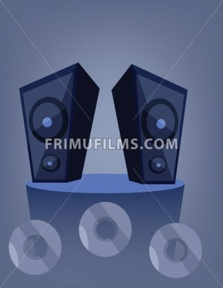 Two blue music speakers on a deck over a blue background with dvd and cd disks. Digital vector image. - frimufilms.com