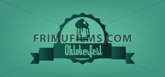 Vector Oktoberfest beer festival with a beer glass over green background, flat style. - frimufilms.com