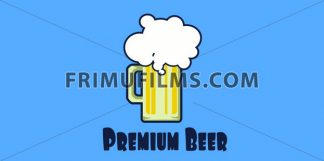 Vector Oktoberfest beer festival with a beer glass with foam over blue background, flat style. - frimufilms.com