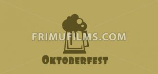 Vector Oktoberfest beer festival with a beer glass with foam over khaki background, flat style. - frimufilms.com