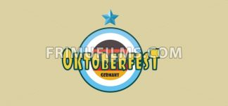 Vector Oktoberfest beer festival with a blue star and german national colors, flat style. - frimufilms.com
