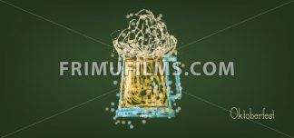 Vector Oktoberfest beer festival with a sketch of beer glass over green background, flat style. - frimufilms.com