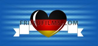 Vector Oktoberfest beer festival with a white ribbon, a big german national colors heart over blue background, flat style. - frimufilms.com