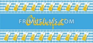 Vector Oktoberfest beer festival with beer glasses over blue and white background. - frimufilms.com