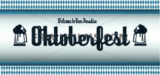Vector Oktoberfest beer festival with beer glasses over white and blue background, flat style. - frimufilms.com